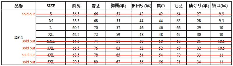 MA-1サイズ表